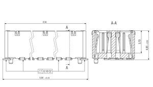 Dimensions Zero8 socket straight shielded 12 pins